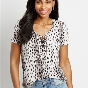 Maurices 24/7 Animal Print Lace Up Tee